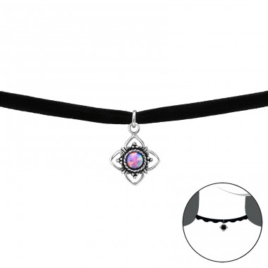 Round Opal - 925 Sterling Silver + Velvet Chokers necklace A4S33990