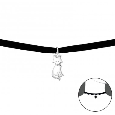 Fox - Velvet + 925 Sterling Silver Chokers necklace A4S33991
