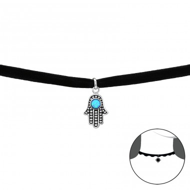 Hamsa - Velvet + 925 Sterling Silver Chokers necklace A4S33992