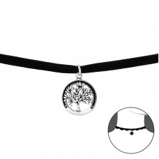 Tree of life - 925 Sterling Silver + Velvet Chokers Necklace A4S33993