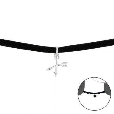 Arrow - Velvet + 925 Sterling Silver Chokers necklace A4S33994
