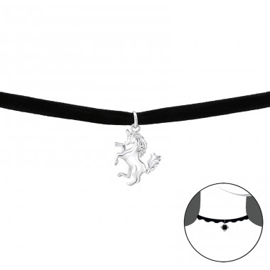 Unicorn - Velvet + 925 Sterling Silver Chokers necklace A4S33998