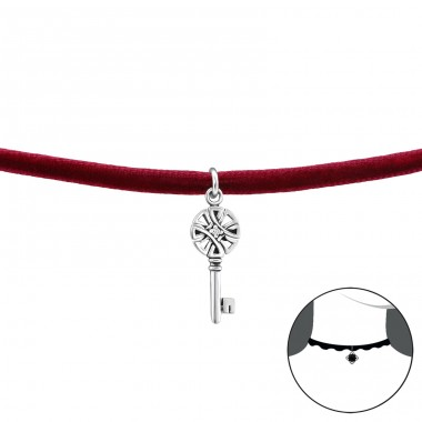 Key - Velvet + 925 Sterling Silver Chokers necklace A4S33999
