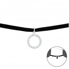 Circle - Velvet + 925 Sterling Silver Chokers necklace A4S34053