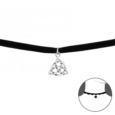 Celtic - Velvet + 925 Sterling Silver Chokers necklace A4S34054