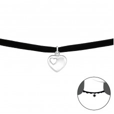Heat - Velvet + 925 Sterling Silver Chokers necklace A4S34055