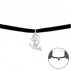 Dolphin - Velvet + 925 Sterling Silver Chokers necklace A4S34056