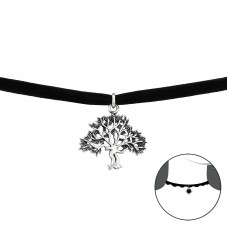 Tree Of Life - Velvet + 925 Sterling Silver Chokers necklace A4S34057
