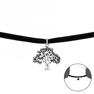Tree Of Life - 925 Sterling Silver + Velvet Chokers necklace A4S34057