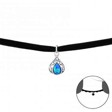 Teardrop Opal - 925 Sterling Silver + Velvet Chokers necklace A4S34059