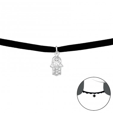 Hamsa - 925 Sterling Silver + Velvet Chokers necklace A4S34525