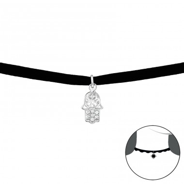 Hamsa - Velvet + 925 Sterling Silver Chokers necklace A4S34525