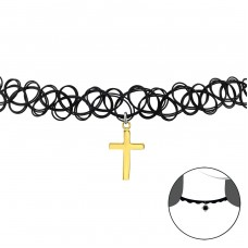 Cross - 925 Sterling Silver + Plastic Chokers necklace A4S34585