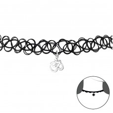 Om Symbol - 925 Sterling Silver + Plastic Chokers necklace A4S34589