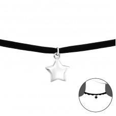 Star - Velvet + 925 Sterling Silver Chokers necklace A4S34590