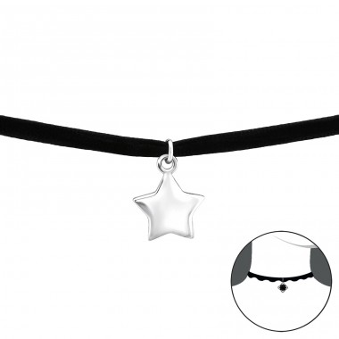 Star - 925 Sterling Silver + Velvet Chokers necklace A4S34590