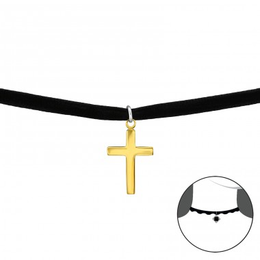 Cross - Velvet + 925 Sterling Silver Chokers necklace A4S34591