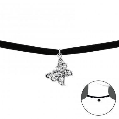 Butterfly - Velvet + 925 Sterling Silver Chokers necklace A4S34592