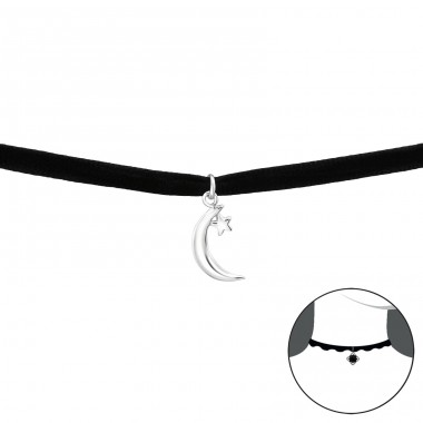Moon And Star - Velvet + 925 Sterling Silver Chokers necklace A4S34593