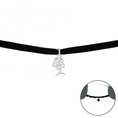 Flower - Velvet + 925 Sterling Silver Chokers necklace A4S34594