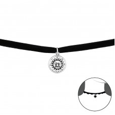 Sun - Velvet + 925 Sterling Silver Chokers necklace A4S34595