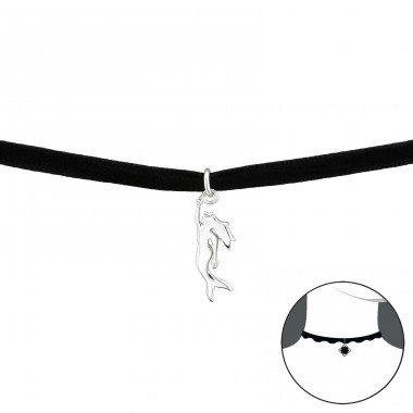 Mermaid - Velvet + 925 Sterling Silver Chokers necklace A4S34596