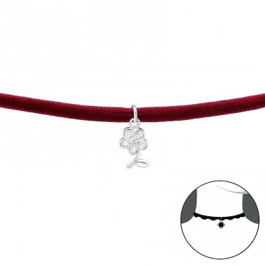 Flower - 925 Sterling Silver + Velvet Chokers necklace A4S34597