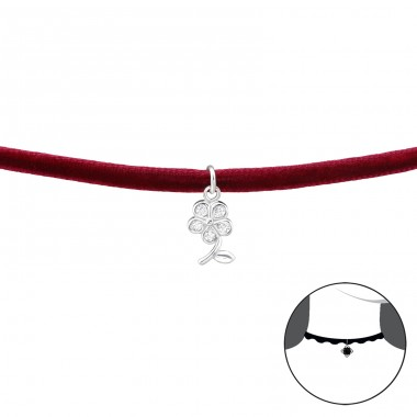 Flower - Velvet + 925 Sterling Silver Chokers necklace A4S34597