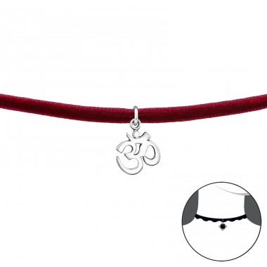 Om Symbol - Velvet + 925 Sterling Silver Chokers necklace A4S34598