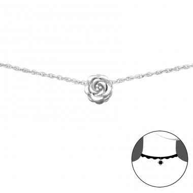 Rose - 925 Sterling Silver Chokers necklace A4S34690