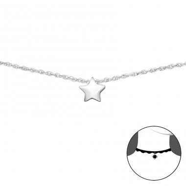 Star - 925 Sterling Silver Chokers necklace A4S34691