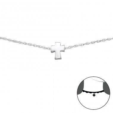 Cross - 925 Sterling Silver Chokers necklace A4S34692