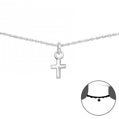 Cross - 925 Sterling Silver Chokers necklace A4S34693