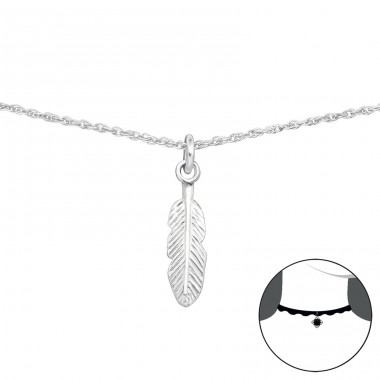 Feather - 925 Sterling Silver Chokers necklace A4S34694