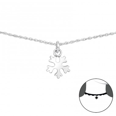 Snowflake - 925 Sterling Silver Chokers necklace A4S34696