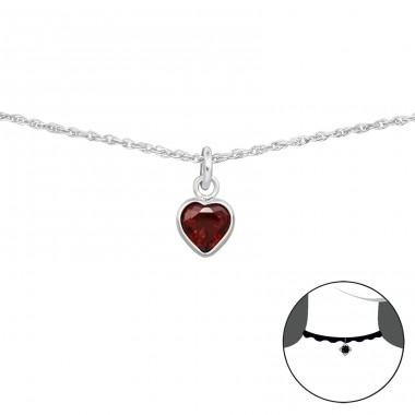 Heart - 925 Sterling Silver Chokers necklace A4S34699