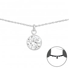 Round - 925 Sterling Silver Chokers necklace A4S34700
