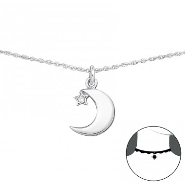 Moon And Star - 925 Sterling Silver Chokers necklace A4S34702