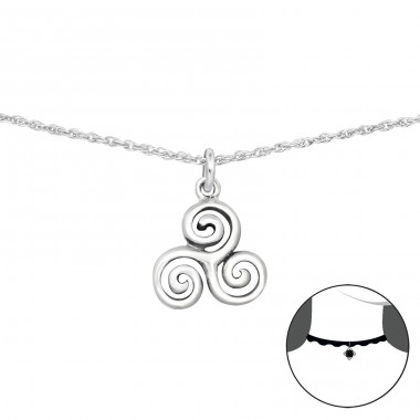 Triskelion - 925 Sterling Silver Chokers necklace A4S34704