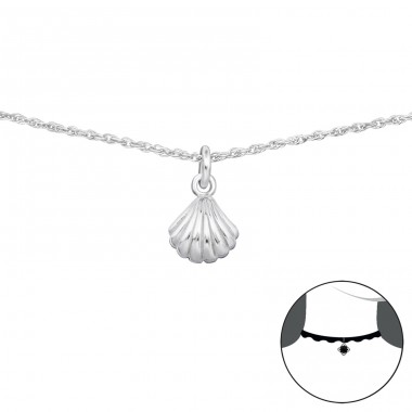 Shell - 925 Sterling Silver Chokers necklace A4S34708