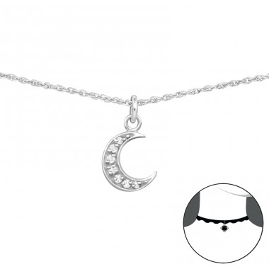 Moon - 925 Sterling Silver Chokers necklace A4S34709