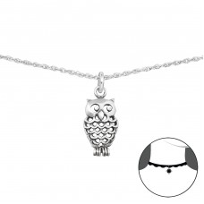 Owl - 925 Sterling Silver Chokers necklace A4S34711
