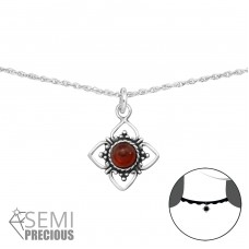 Flower - 925 Sterling Silver Chokers necklace A4S34712
