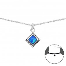 Square Opal - 925 Sterling Silver Chokers necklace A4S34715