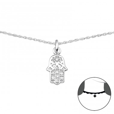 Hamsa - 925 Sterling Silver Chokers necklace A4S34719
