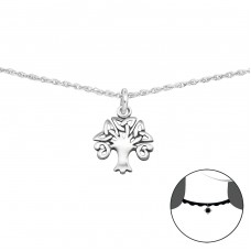 Celtic Tree - 925 Sterling Silver Chokers necklace A4S34721