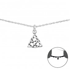 Celtic Knot - 925 Sterling Silver Chokers necklace A4S34722