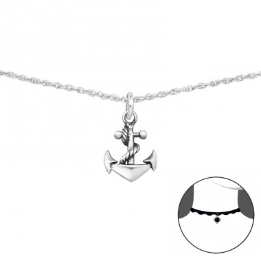 Anchor - 925 Sterling Silver Chokers necklace A4S34723