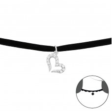 Heart - Velvet + 925 Sterling Silver Chokers necklace A4S34726