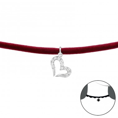 Heart - Velvet + 925 Sterling Silver Chokers necklace A4S34727